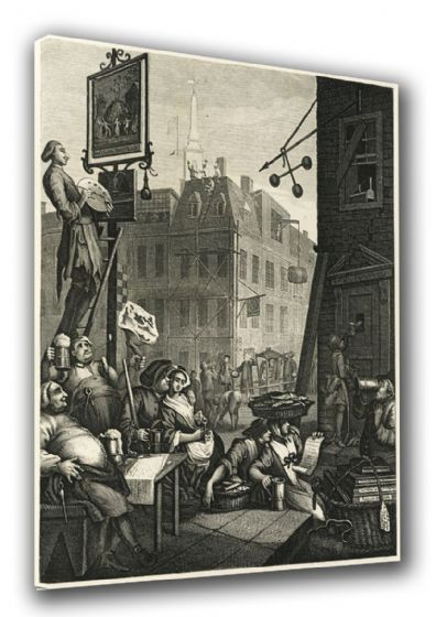 Hogarth, William: Beer Street. Fine Art Canvas. Sizes: A3/A2/A1 (00232)